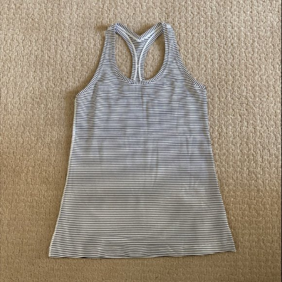 lululemon athletica Tops - Lululemon Cool Racerback-black-white stripe-Size10